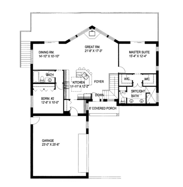 Ranch Floor Plan - Main Floor Plan Plan #117-833