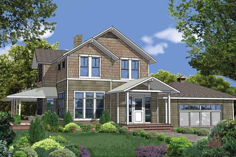Contemporary Style House Plan - 3 Beds 2.5 Baths 2461 Sq/Ft Plan #1042-6 Exterior - Front Elevation