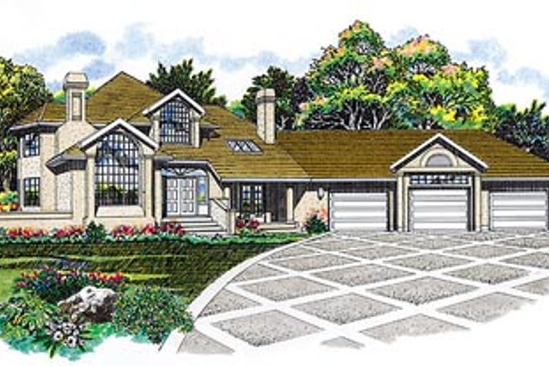 Modern Style House Plan - 3 Beds 3 Baths 3427 Sq/Ft Plan #47-198 Exterior - Front Elevation