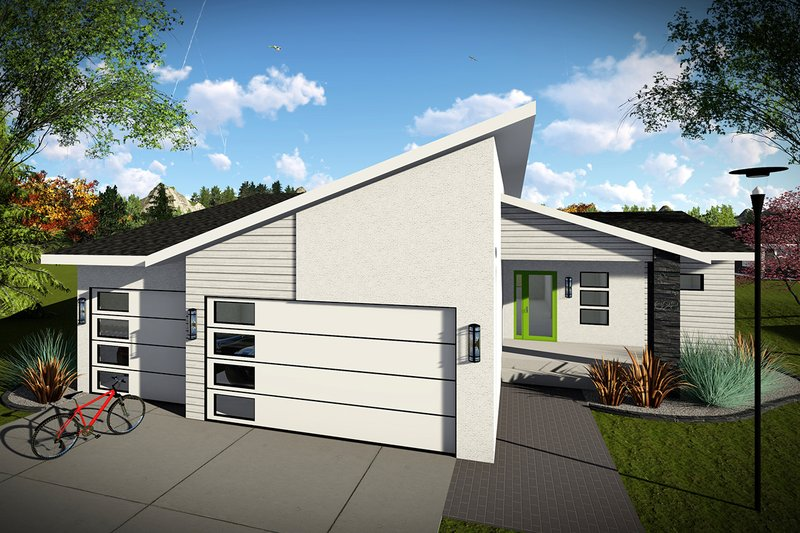 House Plan Design - Contemporary Exterior - Front Elevation Plan #70-1455
