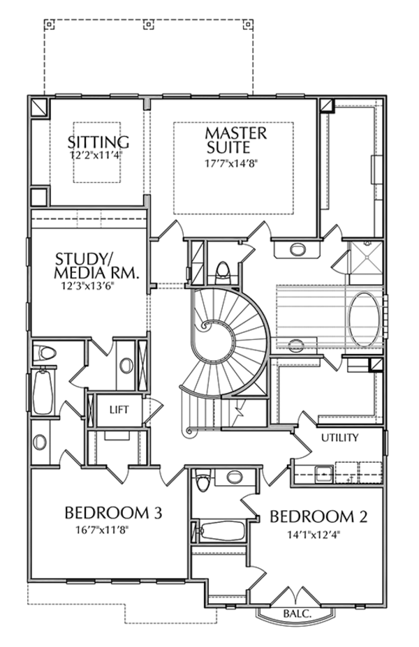 Mediterranean Floor Plan - Upper Floor Plan Plan #1021-15