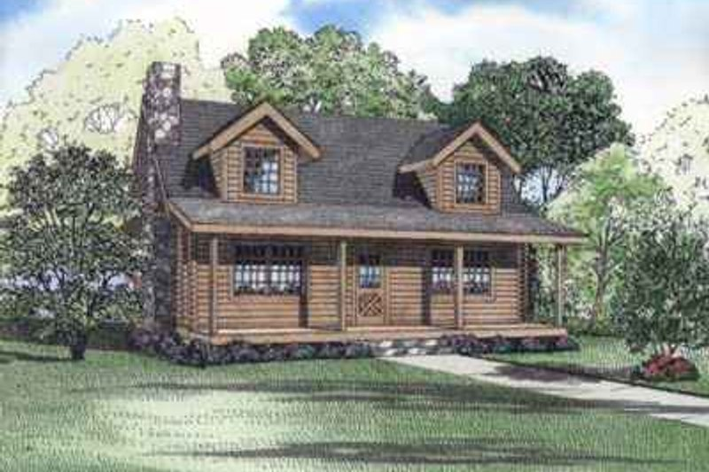 Log Exterior - Front Elevation Plan #17-479