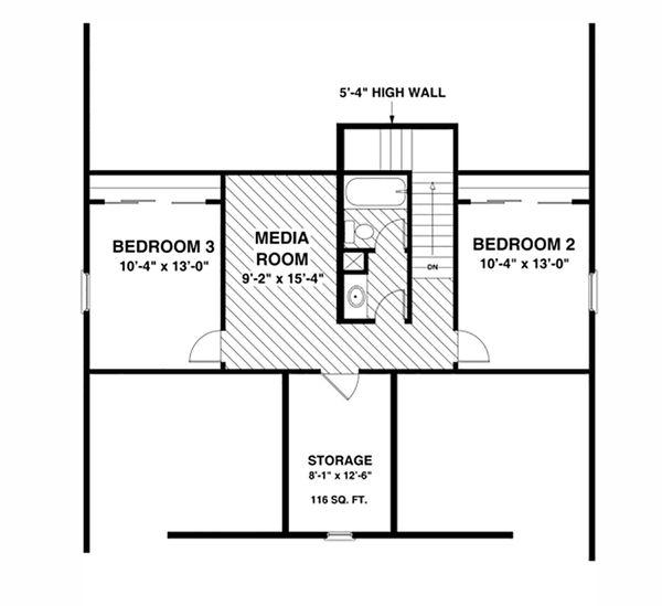 Cottage Floor Plan - Upper Floor Plan #56-627