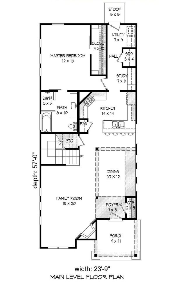 Traditional Floor Plan - Main Floor Plan Plan #932-18