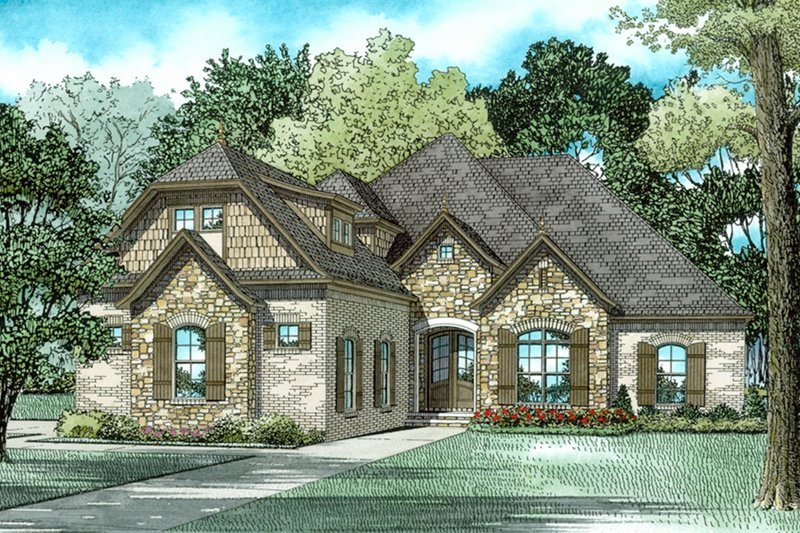 European Style House Plan - 4 Beds 3 Baths 2545 Sq/Ft Plan #17-2537 Exterior - Front Elevation