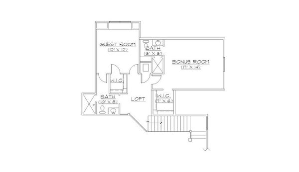 European Floor Plan - Upper Floor Plan Plan #5-406