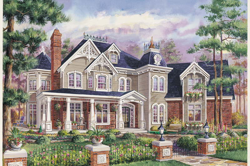 Victorian Style House Plan - 3 Beds 2 Baths 3536 Sq/Ft Plan #25-4781 Exterior - Front Elevation