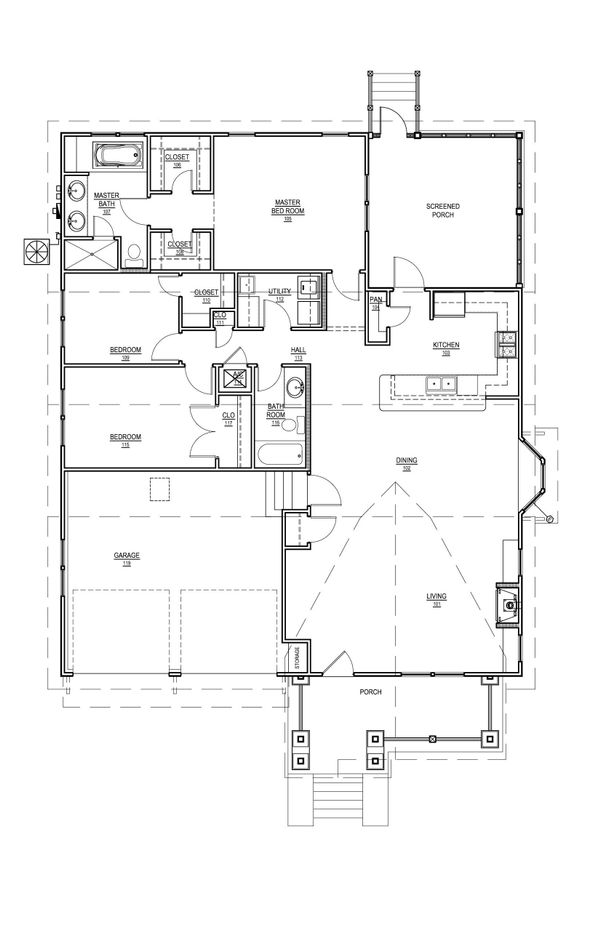 Craftsman Floor Plan - Main Floor Plan Plan #536-8