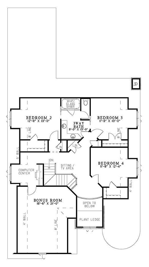 European house plan with computer center upstairs
