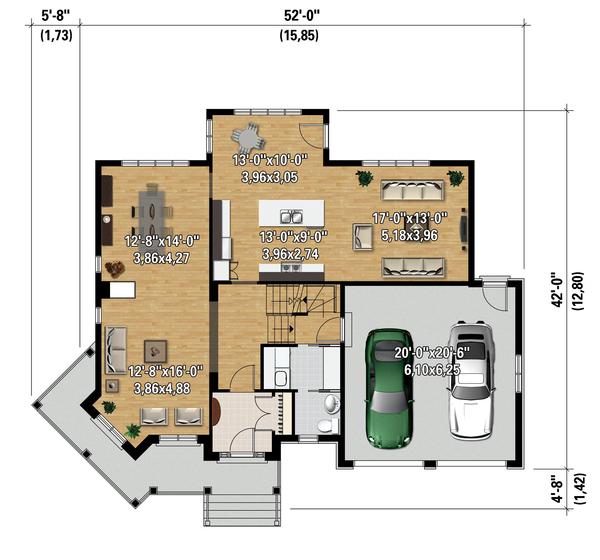 Traditional Floor Plan - Main Floor Plan Plan #25-4344