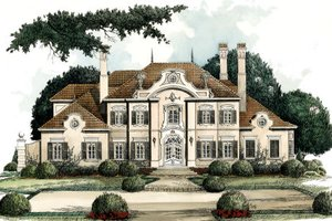 European Exterior - Front Elevation Plan #429-9