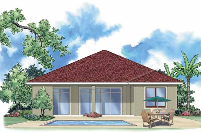 Mediterranean Exterior - Rear Elevation Plan #930-392 - Houseplans.com