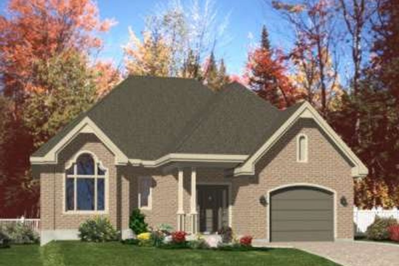 European Style House Plan - 2 Beds 2 Baths 1632 Sq/Ft Plan #138-105 Exterior - Front Elevation