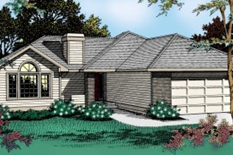 Traditional Style House Plan - 3 Beds 2 Baths 1689 Sq/Ft Plan #90-102 Exterior - Front Elevation