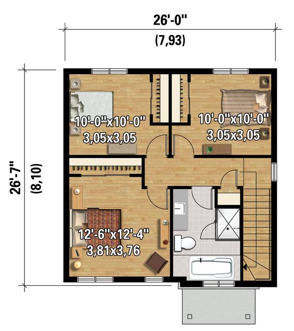 Contemporary Floor Plan - Upper Floor Plan Plan #25-4328