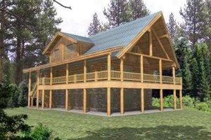 Log Exterior - Front Elevation Plan #117-409