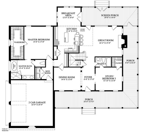 Country Floor Plan - Main Floor Plan Plan #137-255