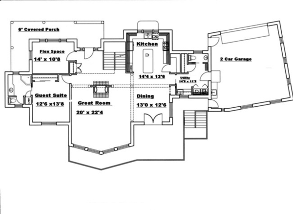 Traditional Floor Plan - Main Floor Plan Plan #117-830