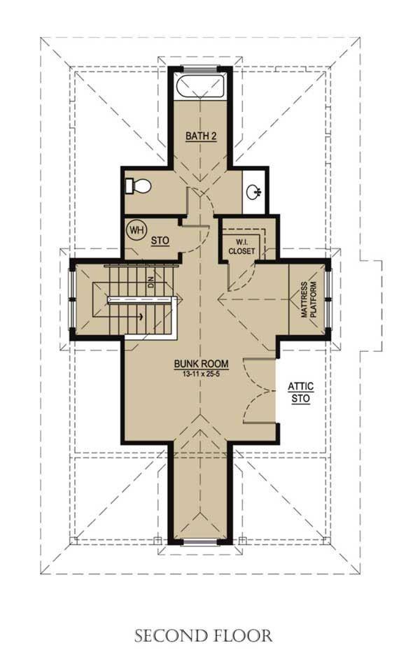 Beach Floor Plan - Upper Floor Plan Plan #536-1