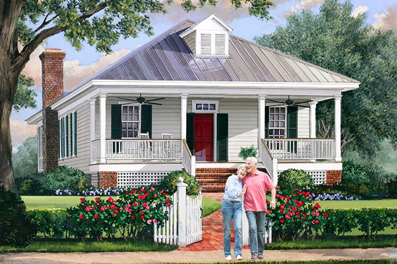 Country Exterior - Front Elevation Plan #137-370 - Houseplans.com