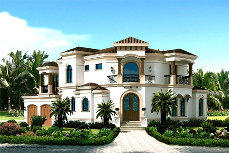 Mediterranean Style House Plan - 3 Beds 4 Baths 3337 Sq/Ft Plan #548-6 Exterior - Front Elevation