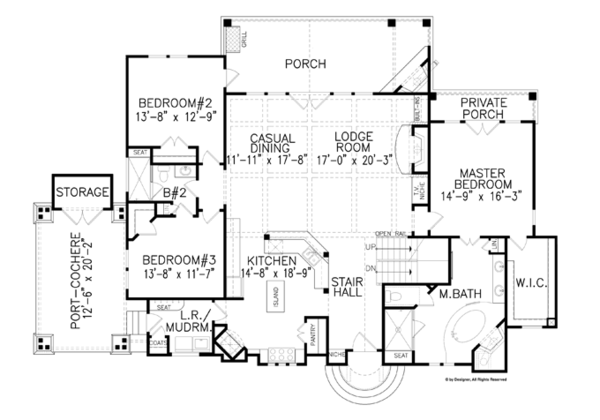 Craftsman Floor Plan - Main Floor Plan Plan #54-371
