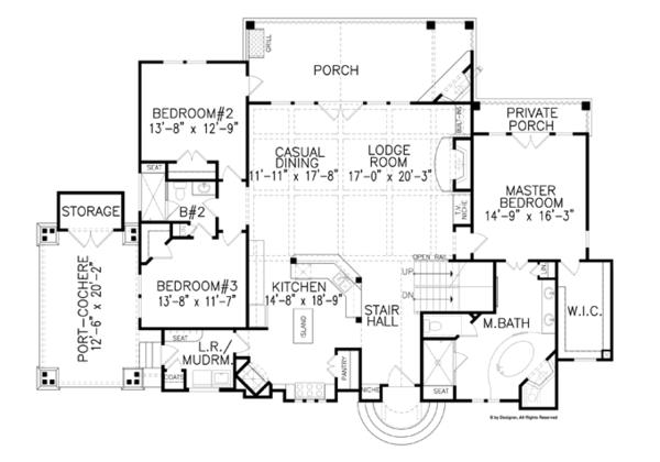 House Plan Design - Craftsman Floor Plan - Main Floor Plan #54-371
