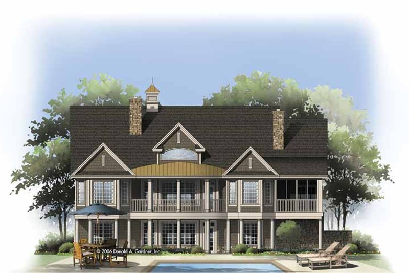 Colonial Exterior - Rear Elevation Plan #929-810 - Houseplans.com