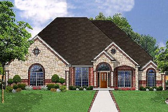 European Exterior - Front Elevation Plan #62-128