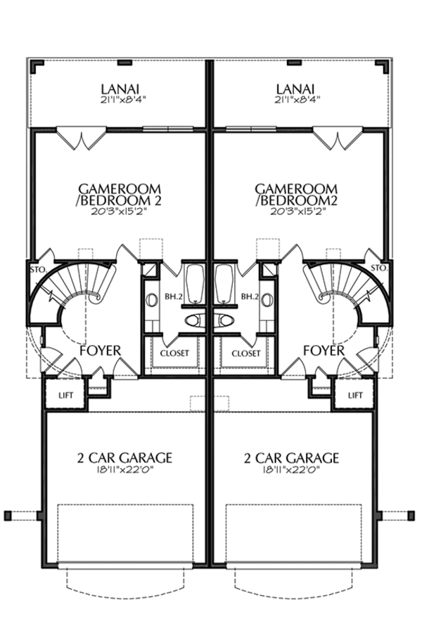 Mediterranean Floor Plan - Main Floor Plan Plan #1021-16