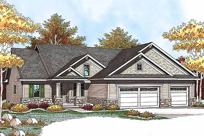 Craftsman Style House Plan - 2 Beds 2 Baths 1428 Sq/Ft Plan #70-927 Exterior - Front Elevation