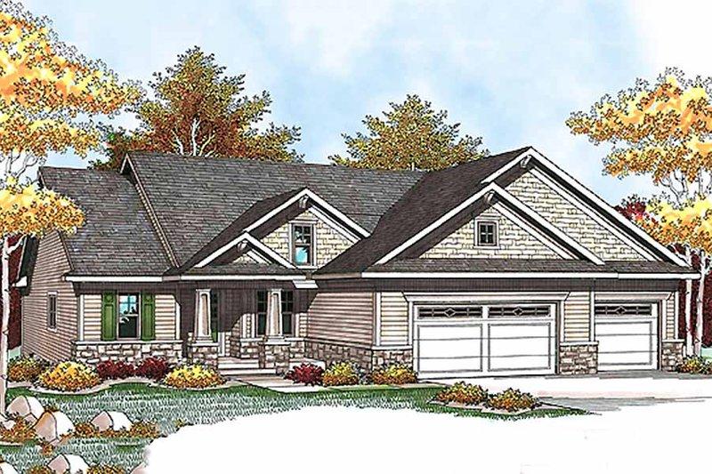 Architectural House Design - Craftsman Exterior - Front Elevation Plan #70-927