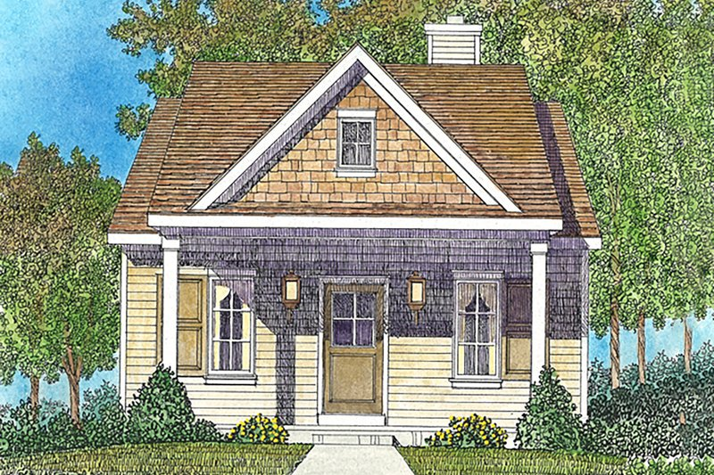 Cottage Style House Plan - 1 Beds 1 Baths 672 Sq/Ft Plan #22-590