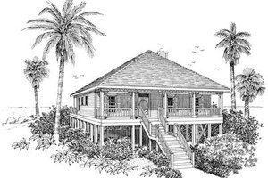Beach Exterior - Front Elevation Plan #37-135