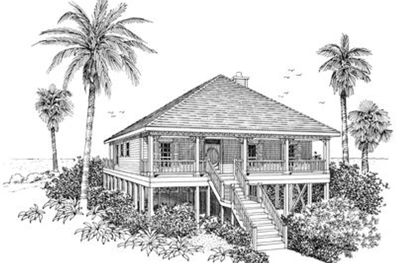 Beach Style House Plan - 4 Beds 2 Baths 1520 Sq/Ft Plan #37-135 Exterior - Front Elevation