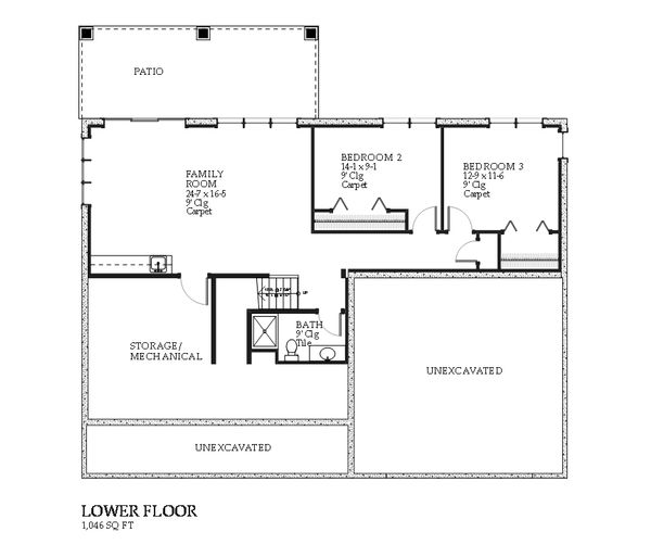 Traditional Floor Plan - Lower Floor Plan Plan #901-109