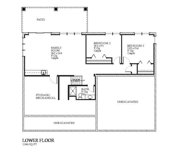 Traditional Floor Plan - Lower Floor Plan #901-109