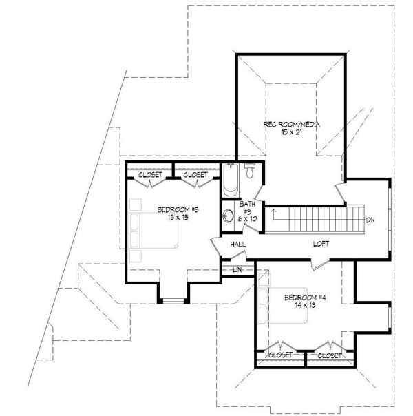 European Floor Plan - Upper Floor Plan Plan #932-5