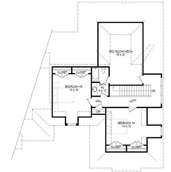 European Floor Plan - Upper Floor Plan #932-5