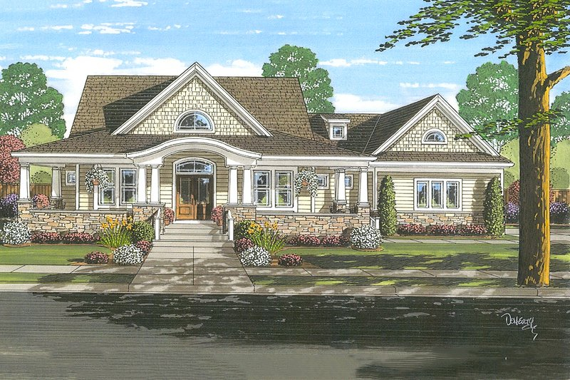 Country Style House Plan - 4 Beds 2.5 Baths 2482 Sq/Ft Plan #46-510 Exterior - Front Elevation