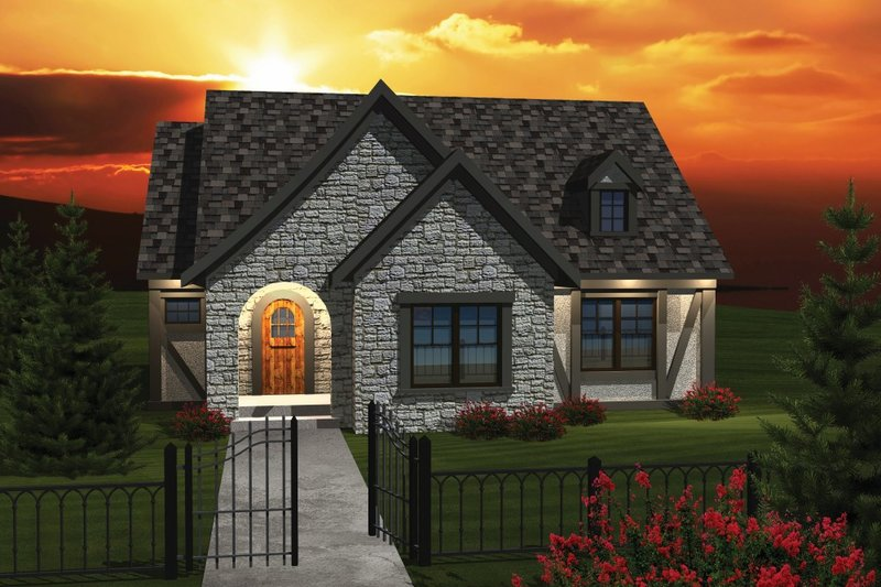 Cottage Style House Plan - 2 Beds 1.5 Baths 1398 Sq/Ft Plan #70-1074 Exterior - Front Elevation