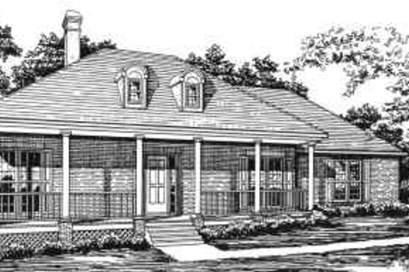 Traditional Style House Plan - 3 Beds 2 Baths 2316 Sq/Ft Plan #30-177 Exterior - Front Elevation