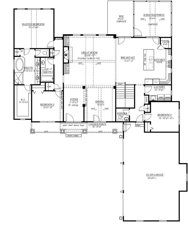 Craftsman Floor Plan - Main Floor Plan Plan #437-61