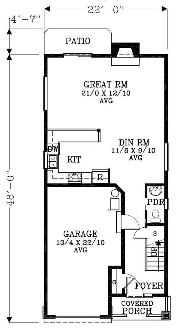 Craftsman Floor Plan - Main Floor Plan Plan #53-520