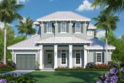Beach Style House Plan - 4 Beds 4.5 Baths 5345 Sq/Ft Plan #27-543 Exterior - Front Elevation