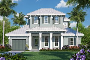 Beach Exterior - Front Elevation Plan #27-543