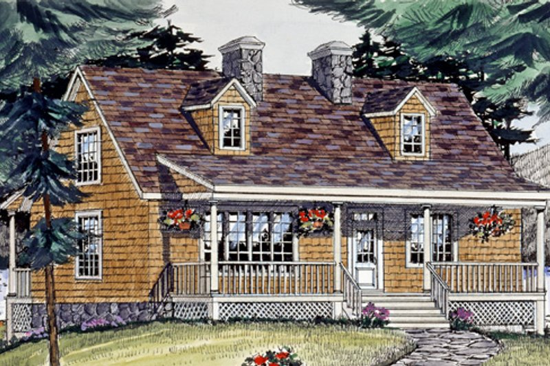 Cottage Style House Plan - 3 Beds 2.5 Baths 1704 Sq/Ft Plan #456-25 Exterior - Front Elevation