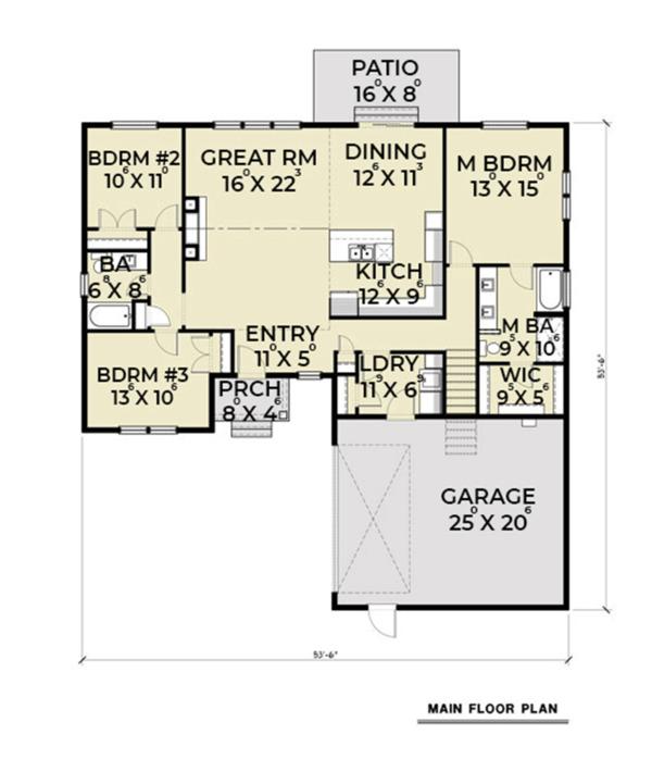 Craftsman Floor Plan - Main Floor Plan #1070-24