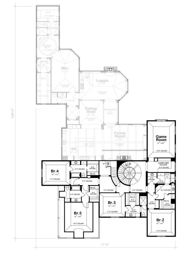 European Floor Plan - Upper Floor Plan #20-2167