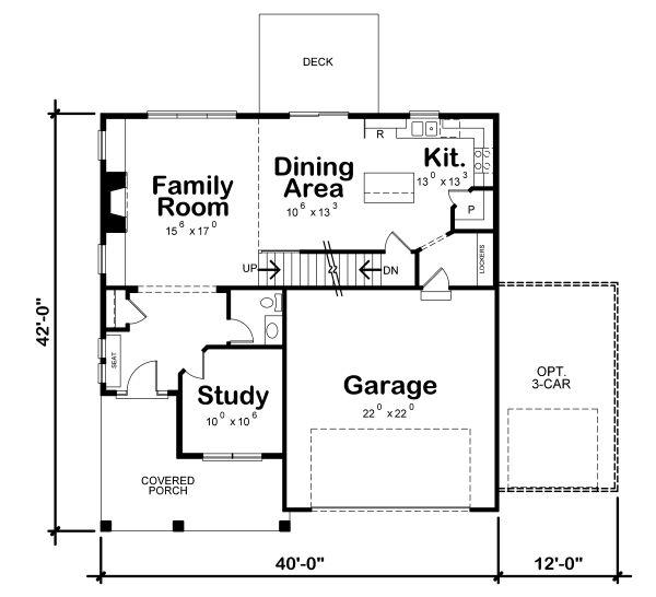 Craftsman Floor Plan - Main Floor Plan #20-2343